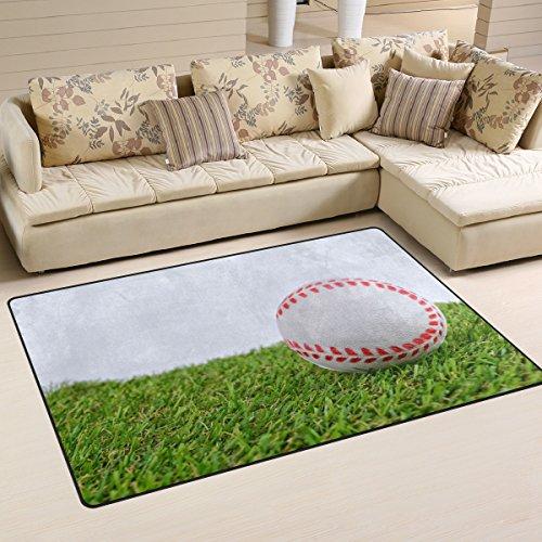 WOZO Baseball Green Grass Area Rug Rugs Non-Slip Floor Mat Doormats Living Room Bedroom 31 x 20 inches
