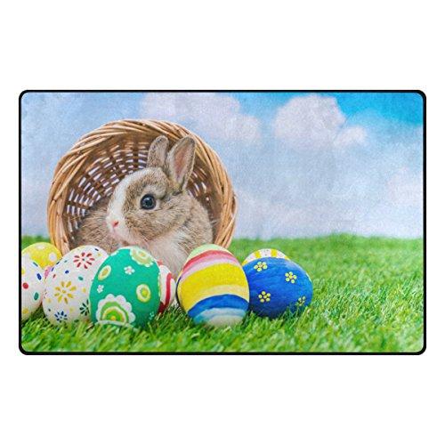 WOZO Rabbit Easter Egg Green Grass Area Rug Rugs Non-Slip Floor Mat Doormats Living Room Bedroom 31 x 20 inches