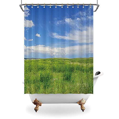 ALUONI Short Grass Prairie Machine Washable Bath Curtains173957 for Bathroom65 in x 71 in