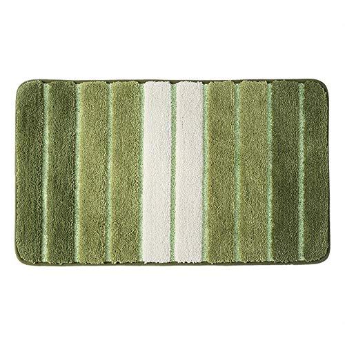 GBATHMAT Simple Striped Bedroom Entrance Mat Floor Mat Door Mat Carpet Bathroom Bathroom Non-Slip Absorbent Foot Pad Soft Grass Green 50X80cm