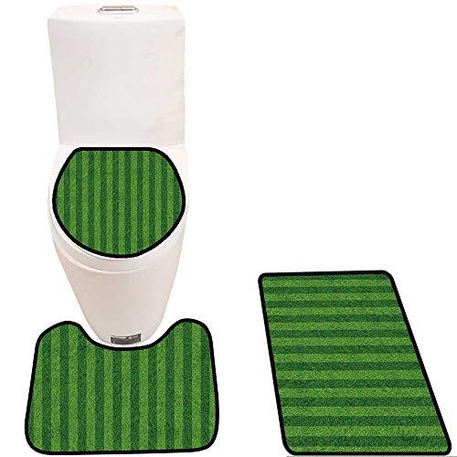 Toilet mat 3 Pieces Microfiber Soft Grass Field Background Non Slip Bathroom