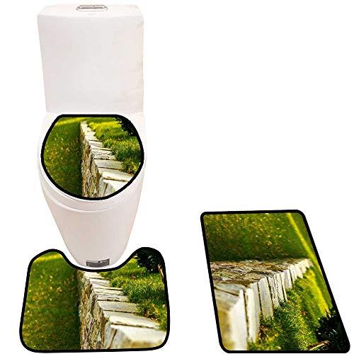 Toilet mat 3 Pieces Microfiber Soft Grass Non Slip Bathroom