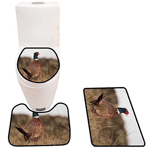 Toilet mat 3 Pieces Microfiber Soft The Grass Pheasant Non Slip Bathroom
