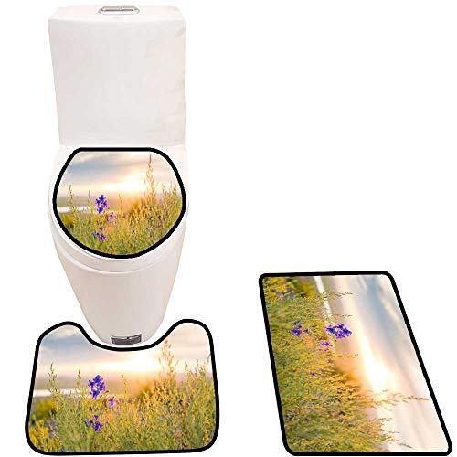 Toilet mat 3 Pieces Microfiber Soft The Grass Under The Setting Sun Non Slip Bathroom