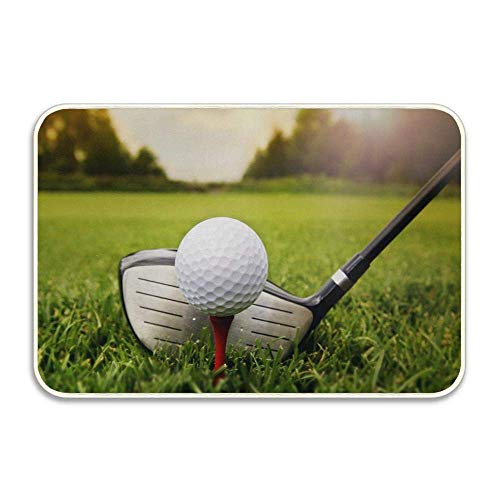 FnLiu Golf Club and Ball On Grass Sport Sunset Entrance Doormat Indoor Bath Door Mat Rug Non-Slip Doormat 236x157 Inch 16X24
