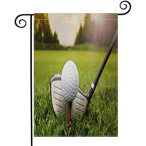 HOOSUNFlagrbfa Golf Club and Ball On Grass Sport Sunset Garden Flag 12 x 18 Inch Garden Yard Flag for Home Seasonal Outdoor Decor