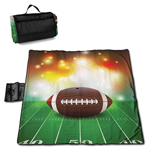 Picnic Blanket American Football Ball On Grass Sports Washable Extra Large Picnic Beach Blanket Handy Mat Plus Sandproof Waterproof Padding Portable for Family Friends Kids 57 X 59 Inch