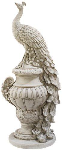 Design Toscano Staverden Castle Peacock On An Urn Garden Statue Antique Stone