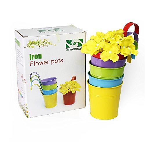 Greenmall 5 Pcs Flower Pots Metal Iron Flower Pot Hanging Planter 5 Colorsbalcony Garden Plant Home D&eacutecor
