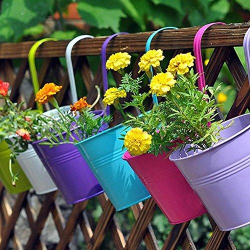 Home Garden Decoration Supplies Indoor Outdoor Decorative Iron Pastoral Balcony Pots Planters Wall Hanging Metal