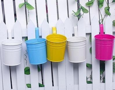 Kingbuy 5PCS Metal Iron Hanging Basket Flower Pot Hanging Balcony Garden Plant Planter Home Décor-Random color