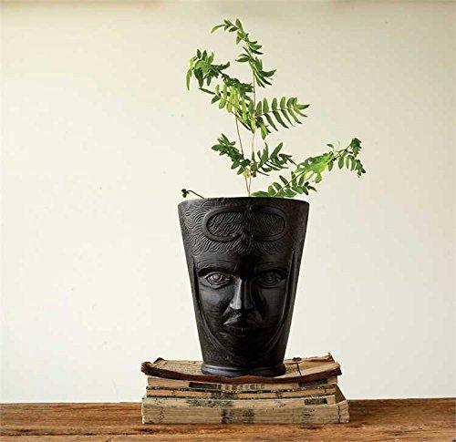 Black Cast Aluminum Planter With Face