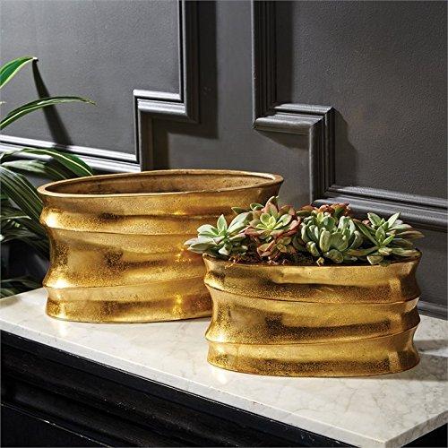 Tozai Golden Wave Set of 2 Aluminum Planters