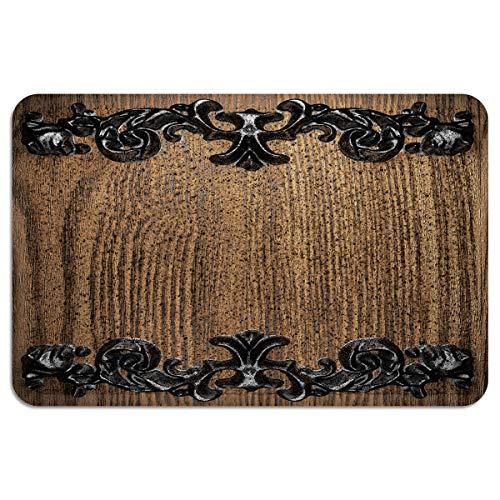 CHARMHOME Entrance Doormat Iron Antiques Adorn The Wooden Board IndoorOutdoor Doormat Rubber Shoes Scraper Non Slip Heavy Duty Front Entrance Door Mat Rug 18X30 Inch