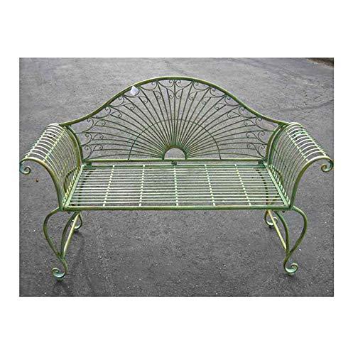 Garden-Bench 37 High - Wrought Iron - Antique Green Finish