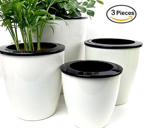 Mkono 3 Pack Self Watering Planter White Flower Pot L