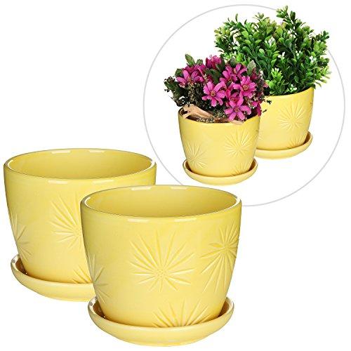 Set Of 2 Yellow Sunburst Design Ceramic Flower Planter Pots  Decorative Plant Container With Saucer