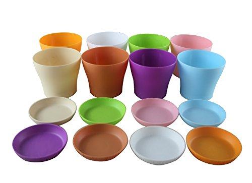 Truedays 4&quot Mini Plastic Flower Seedlings Nursery Pot Planter  Flower Pot With Pallet 8 Colorsall