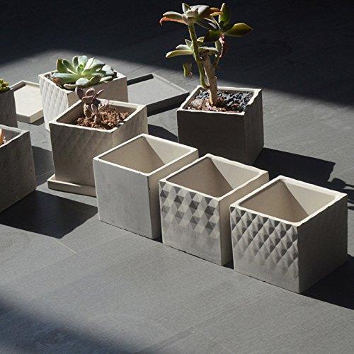 Fiesta Square Concrete Flowerpot molds Silicone molds for Garden Planter 1