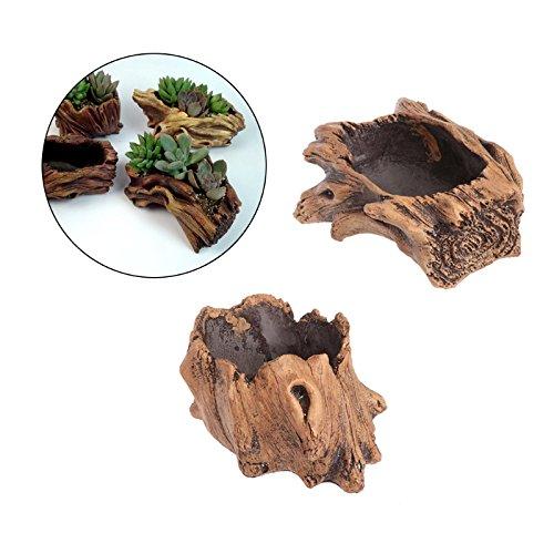 Techinal Driftwood Stump Handmade Concrete Succulent Planter Garden Flowers Plant Pot Bonsai Pot Driftwood Flower Pot-A