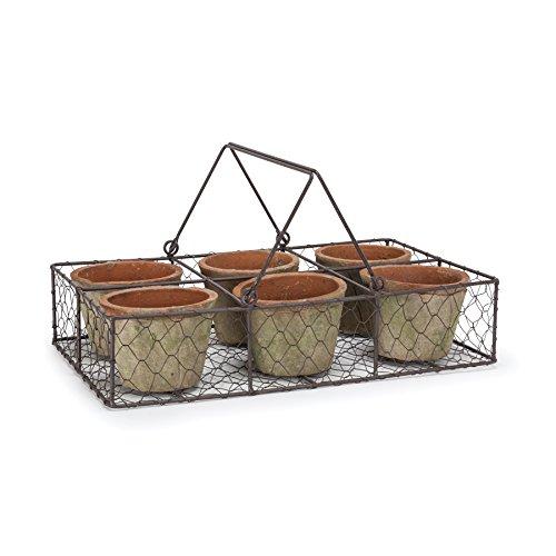 Abbott Collection Six Moss Pots In Basket
