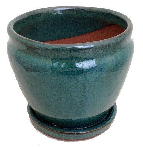 Fishbowl Glazed Ceramic Potsaucer - Dark Moss Green - 625&quot X 55&quot  Felt Feet
