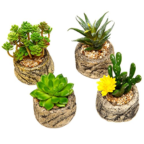 Assorted Set Of 4 Green Artificial Faux Mini Succulent Plants W Pebble Sand Potted Stone Like Cement Pot