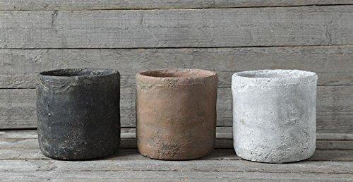 Cement Pot Terra Cotta Finish Plant Holder Country Primitive Home D