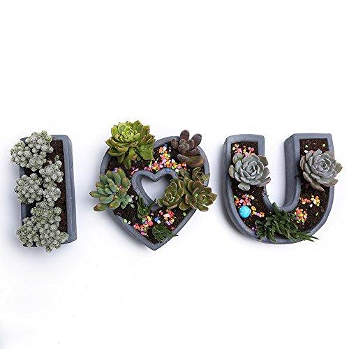 Coolrunner Handmade Simple Cement I LOVE U Personality Creative Multi-meat Pots European Mini Breathable Flower PotsBlack