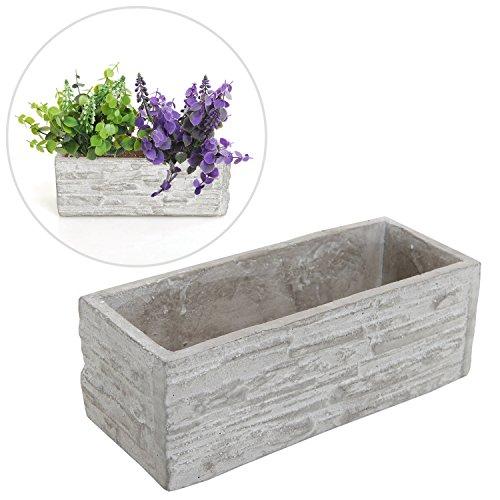Gray Cement Rectangular Succulent Plant Flower Pot  Decorative Kitchen Herb Garden Planter Container