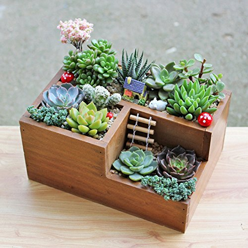 Easydeal Wooden Garden Window Box Trough Planter Succulent Flower Bed Pot three Gird