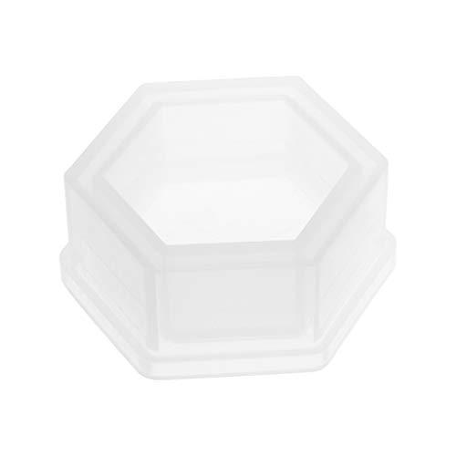 Tebatu DIY Silicone Hexagon Flower Pot Molds for Garden Planter Cement Concrete Vase Soap Moulds 80x35mm