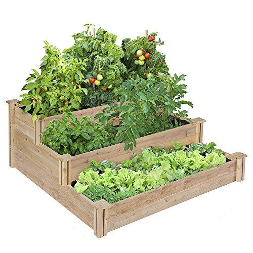 Greenes 4 Ft X 4 Ft X 21 In Tiered Cedar Raised Garden Bed