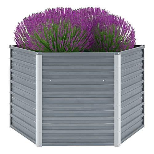 Canditree Raised Garden Bed Galvanized Steel Garden Planter Box for Vegetables Flowers Herbs Gray