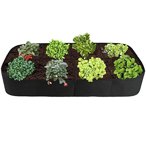 Raised Garden BedDivided 8 Grids Fabric Raised Planting Bed Rectangle Garden Grow Bag for Herb Flower Vegetable Plants3ft x 6ft