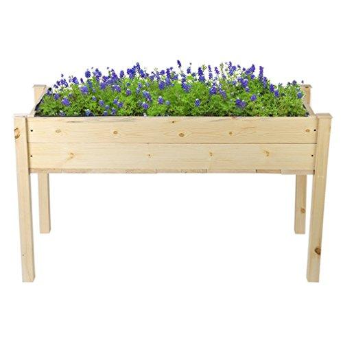 Raised Vegetable Garden Bed Outdoor Patio Grow Gardening Bed Vegetables Box Flower Planter Wooden Elevated Planter