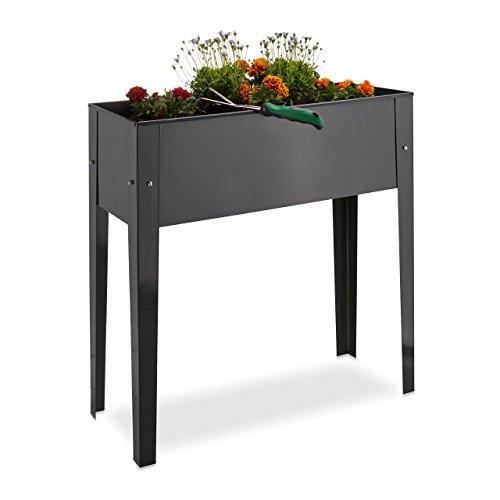Relaxdays Raised Flowerbed Metal 4 Legs Plant Container Herb Bed Balcony Storage HxWxD 805 x 815 x 31 cm Grey 31x815x805 cm