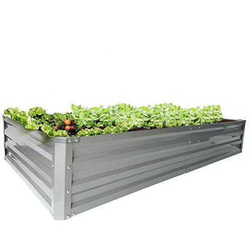 zizin Galvanized Raised Garden Beds Metal Elevated Planter Box Steel Large Vegetable Flower Bed Kit 6 ×3 ×1 ft