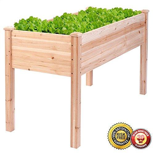New Wooden Raised Vegetable Garden Bed Elevated Planter Kit Grow Gardening