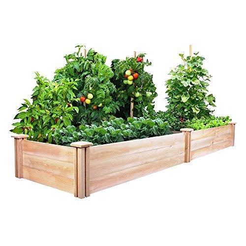 Kissemoji Raised Garden Planter Box Cedar Wood Bed Kit Vegetables Herbs Flowers Grow