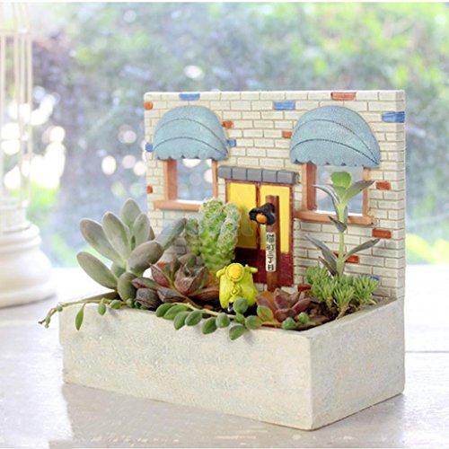 Resin Biscuit House Patio Garden Planter Bed Herb Cacti Succulent Bonsai Pot