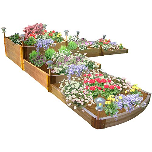 Frame It All One Inch Series Composite Split Waterfall Raised Garden Bed Kit 144&quot X 144&quot X 22&quot
