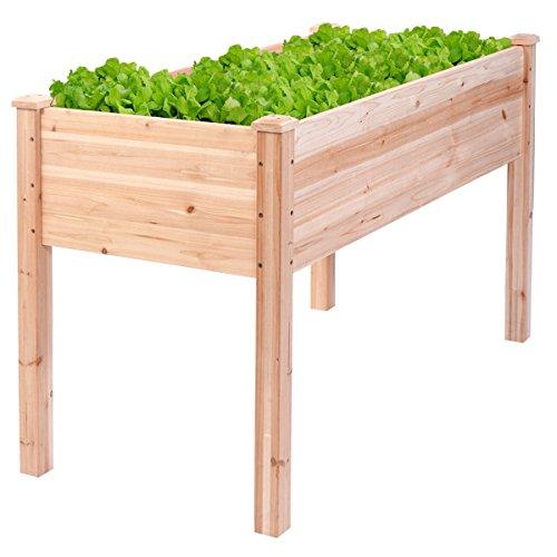 Gracelove Wooden Raised Vegetable Garden Bed Elevated Planter Kit Grow Gardening Vegetable