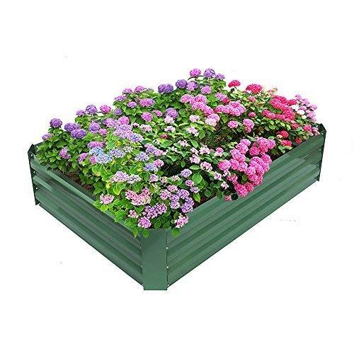 BABYLON Patio Garden Flower Planter Raised Bed Elevated Garden Planter Box for Growing Herbs Vegetables FlowersPowder-Coated MetalGreen 472 L x 354 W x 118 H