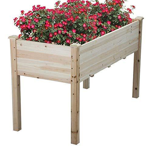 Cyanhope Wooden Raised Garden Bed Kit Cedar Elevated Garden Planter Box with Legs for VegetablesFlowerHerbFruits
