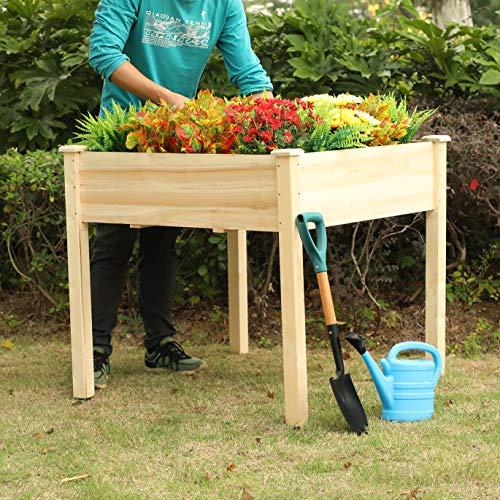PHI VILLA Raised Garden Bed Elevated Planter Box for VegetableFlowerFruitHerb 35x35x319