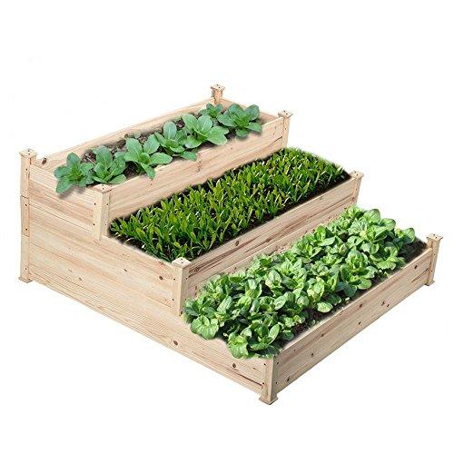 go2buy 3 Tier Raised Garden Bed Cedar Garden Box Wooden VegetablesFlowerHerb Elevated Garden Planter Boxes DIY