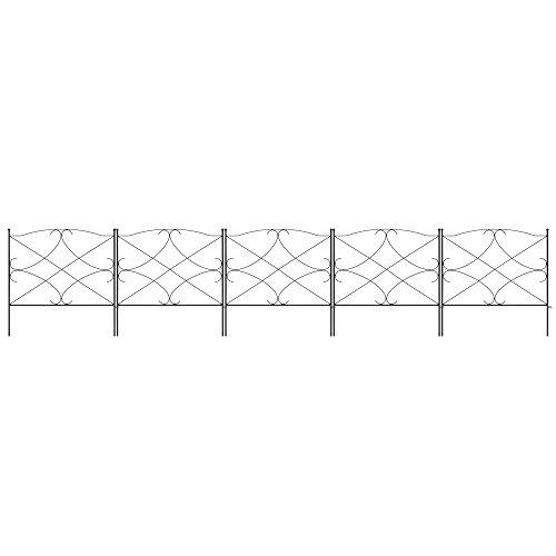 Best Choice Products 10-Foot x 24-inch 5-Panel Iron Foldable Interlocking Garden Edging Fence Panels for Lawn Backyard Landscaping wLocking Hooks Black