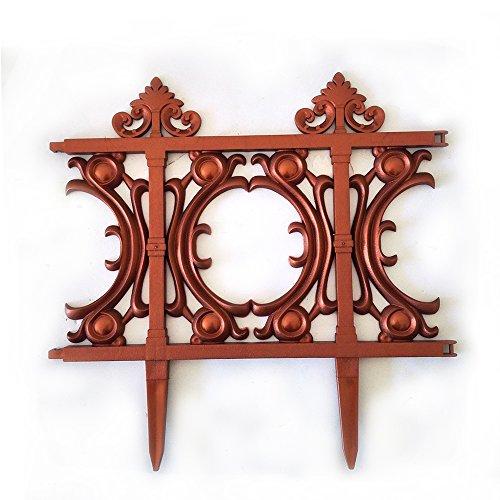 V Protek Garden Patio Decorative Garden Edging Fence PVC Bronze 6 Pack 1312