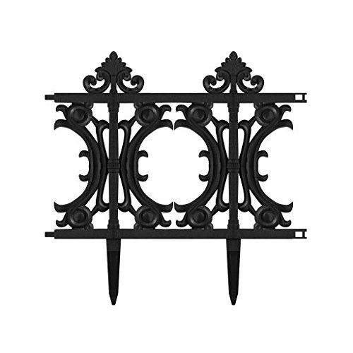 V Protek Patio Decorative Garden Edging Fence PVC Black 6 Pack 1312
